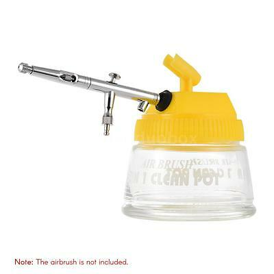 Airbrush Cleaning Pot Airbrush Stand Station Jar Bottle Glass Container With Lid