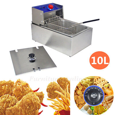 10L Commercial Deep Fryer Basket Electric Stainless Steel Tank Fat Chip 6L Oil