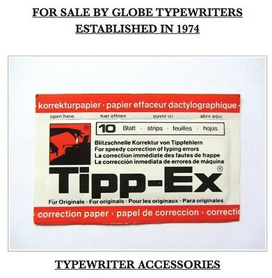 1 x PACKET 10 SHEETS OF UNUSED ORIGINAL STYLE *TIPP-EX* CORRECTION PAPER *OPENED