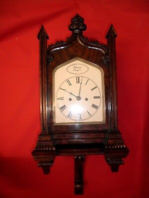 William 1V Regency Double Fusee Carved Mahogany Bracket Clock & Original Bracket