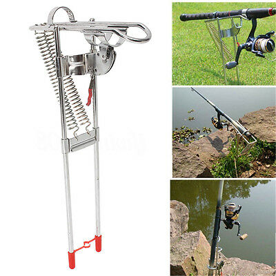 Stainless Steel Spring Double Fishing Rod Holder Rack w/ Auto Tip-Up Hook Setter