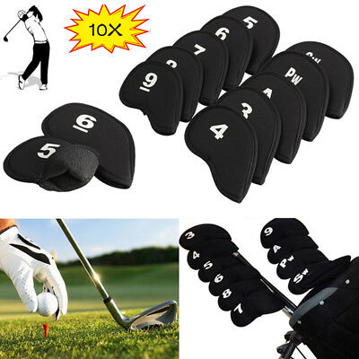 AU 10Pcs Neoprene Small Golf Club Putter Iron Head Cover Protector Case Black