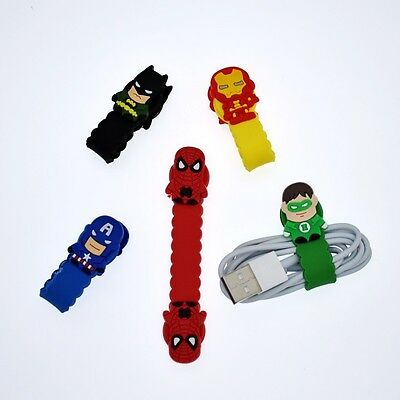5 pcs Cute Hero Earphone Cord Wire Winder Wrap Organizer Earbud Cable Tie Holder