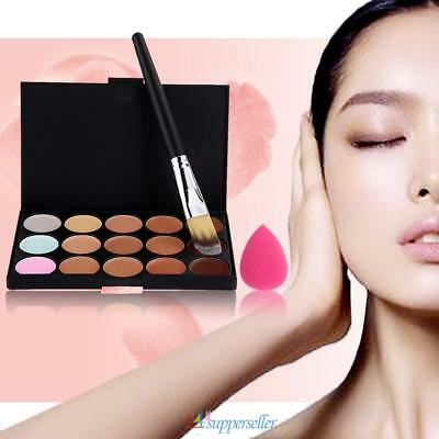 15 Colors Concealer Palette kit W/ Foundation Brush Makeup Contour Cream Sponge