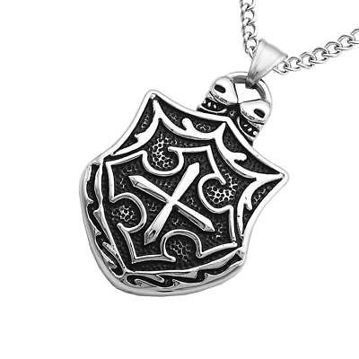 Amulet Gothic Cross Skull Stainless Steel Pendant Necklace Punk Mens Jewelry