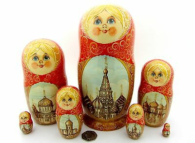 Genuine Russian nesting dolls BIG Babushka Moscow Cathedral of St. Basil signed