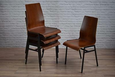 Set Of 4 Superb Danish Style Teak Stacking Cafe Bar Dining Kitchen Chairs