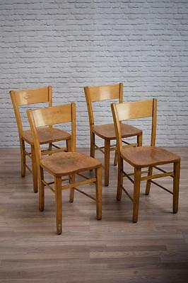 Set Of 4 Vintage Chapel Church Cafe Bar Dining Kitchen Chairs