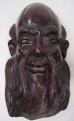 Old Carved Asian Dark Wood Man Exquisite Detailing Eyes Teeth 4A
