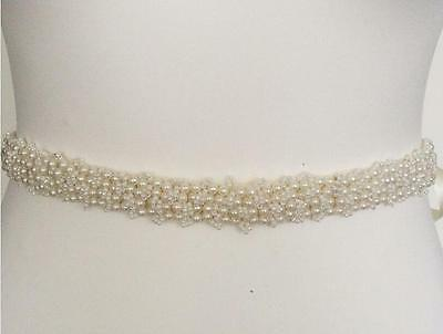 Gorgeous Vintage Pearls Beaded Wedding Belt Bridal Dress Ivory Gown Waist Sash