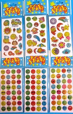 Bulk Lot x 12 Mixed SMILEY Sticker Sheets New Kids Party Favor Free Post