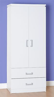 Excellent Value 2 Door Combination Wardrobe with 2 Drawers in Modern White