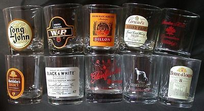 Lot 10 verres WHISKY SCOTCH  JOHN LONG /  SHENTON CANADIAN / BLACK & WHITE