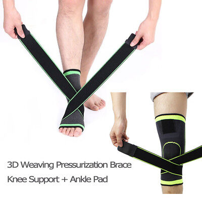 3D Weaving Pressurization Brace Cycling Knee Support + Ankle Support Sports Pad