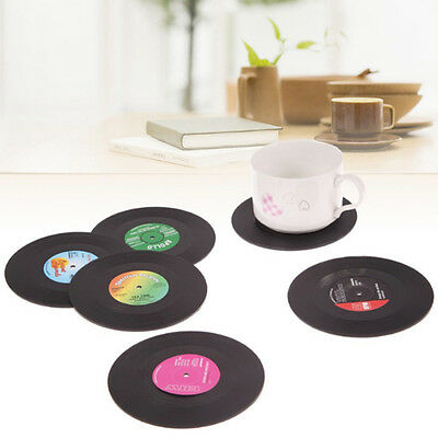 6x Vinyl Style Drinks Coasters Place Mats Bar Retro Vintage Record Discs Cup