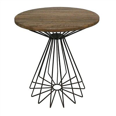 Arrell Solid Mango Wood Timber & Metal Round Side Table -Bronze - 50Cms.