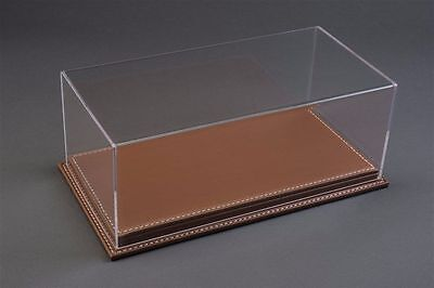 1/24 Display case, Brown leather stitched base Hand made, scratch resistant acry