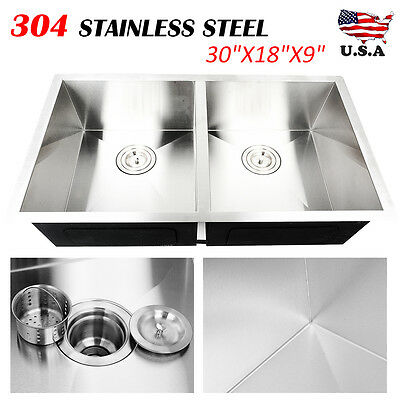 "30"" Commercial 304 Stainless Steel Kitchen Sink Double Bowl Undermount 18 Gauge"