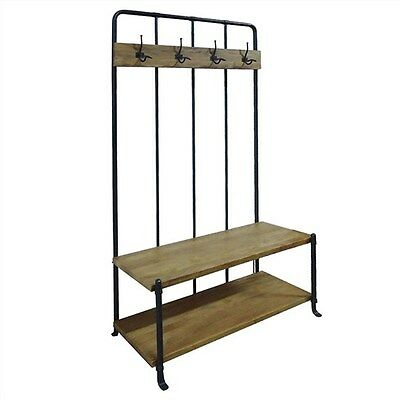 Mayfair Steel & Solid  Mango Wood Timber Hallway Stand / Coats And Hats