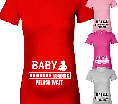 Womens Baby Loading Maternity Tshirt Pregnancy T Shirt Top Fun Shower Gift