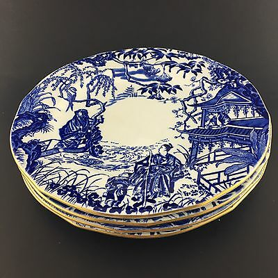 Four Royal Crown Derby Luncheon Plates Blue Oriental Scene Gold Trim On White