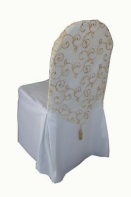Gold Embroided Organza Chair Cap with Tassel, Wedding, Events, Chair Cover