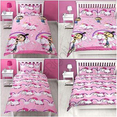 Despicable Me Fluffy Unicorn Duvet Cover Set Kids Reversible - Single & Double