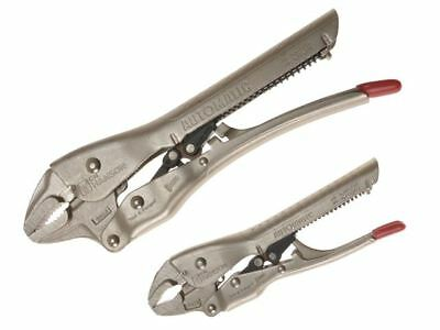 C H Hanson Automatic Locking Mole Pliers Set of 2 150mm & 250mm Curved Jaw 80200