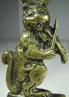 Vintage Brass 'The Cat & Fiddle' Finial figural detailed kitty kat playing