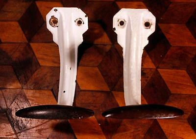 2x RETRO Vintage Industrial French Deco Modernist Gym School Factory Coat Hooks