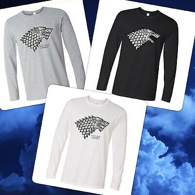 Game of Thrones T-shirt Casual Long Sleeve Winter is Coming House Stark Direwolf