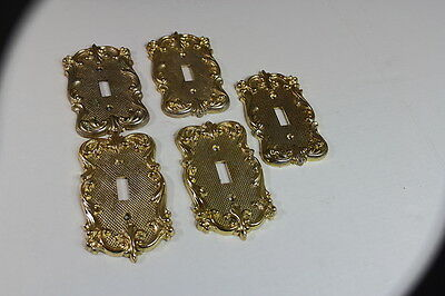 Vintage Ornate American Tack & Hdwe Co. Brass Switch Outlet Covers 1972