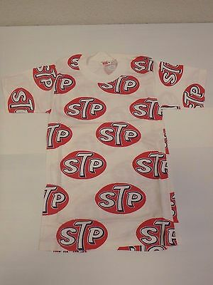 Vintage STP Logo All-Over Drag NASCAR Indy Racing NOS T-Shirt 50's-1960's XXXS