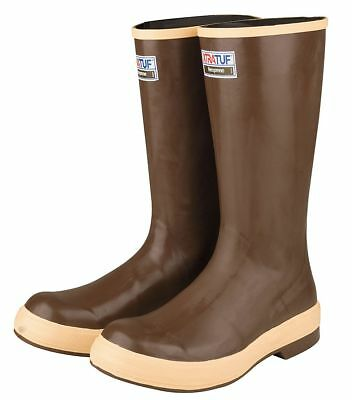 "16""H Men's Knee Boots, Plain Toe Type, Neoprene Upper Material, Brown, Size 9 -"