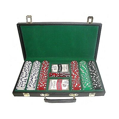 Trademark Poker 10-1090-300d-W 300 Dice-Striped Chips in Case 11.5gm