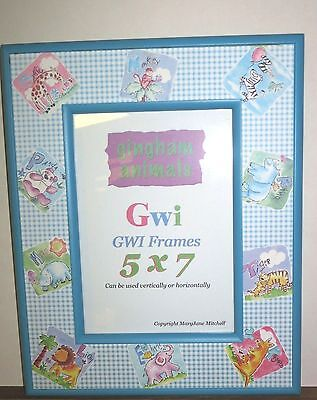 Baby Gingham Design  Animals 5 x 7 Hanging/sitting Picture Frame