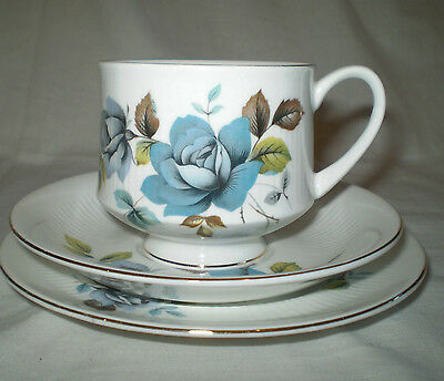 Royal Standard English Bone China Blue Rose Cup, Saucer & Side Plate Trio