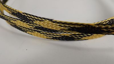 Yellow black  1/4 3FT BRAIDED EXPANDABLE FLEX SLEEVE WIRING LOOM WIRE COVER, PET