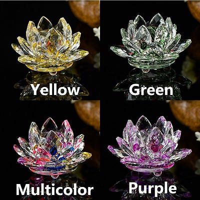 Flower Ornaments Paperweight Figurines Flower Crystal Lotus Glass Crafts