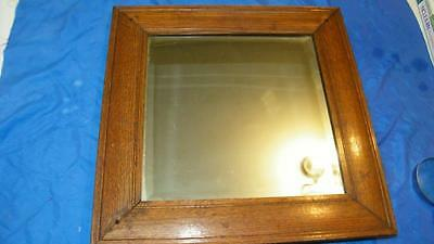 "Antique Beautiful Solid Oak Beveled Glass Mirror 19 1/2"" Square Home Decorating"