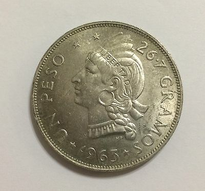 Dominican Republic 1963 Peso Silver Toned Low Mintage