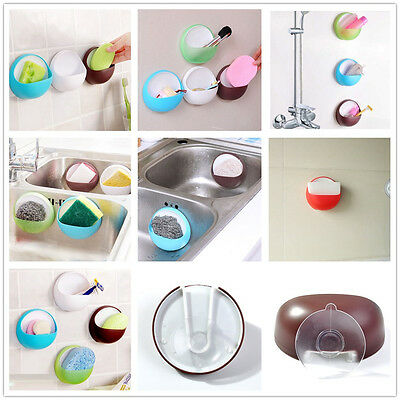 Suction Cup Soap Toothbrush Box Plastic Dish Holder Bathroom Shower Accessory