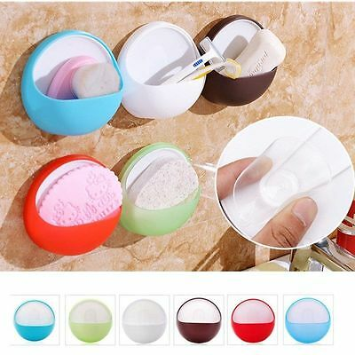 Round Plastic Suction Cup Soap Toothbrush Box Dish Holder Bathroom Shower DIY