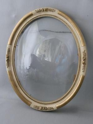 Antique Shabby Vtg French Chic Wood Barbola Flowers Convex Glass Picture Frame