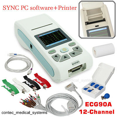 12 Channel Electrocardiograph ECG EKG Machine 12 lead Touch LCD,Software,Printer
