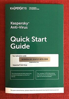 Kaspersky Antivirus Anti-Virus 2019 (2020) 3 PC FREE Ship (Exp. Date: 5/2/2020)
