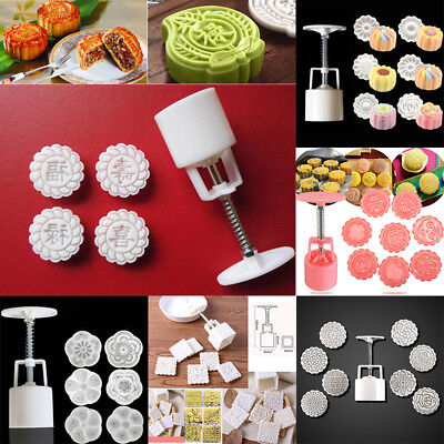Round Square Moon Cake Mold Pastry Mooncake Mould Flower Stamps Baking Tool Set