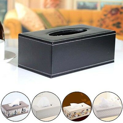 Dirtyproof Home Car Room Decor Leather Wooden Tissue Box Cover Paper Holder Case