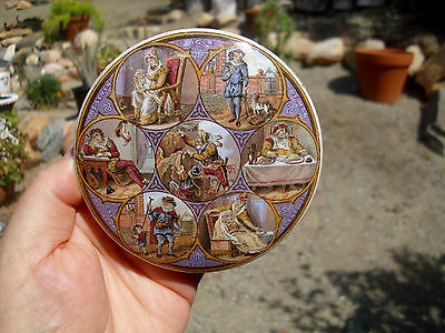 Antique,7 Ages of Man,RATED SCARCE Shakespearean, colored PRATTWARE jar pot lid