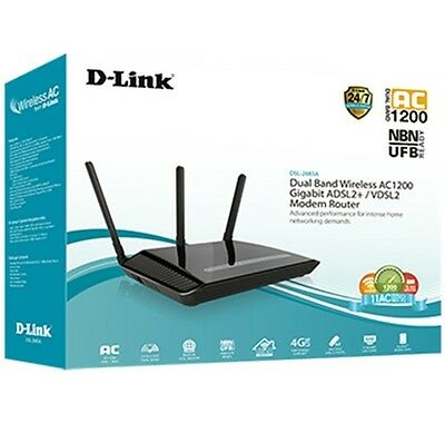 D-Link Wireless AC1200 Dual Band Gigabit ADSL2+/ VDSL2 Modem Router DSL-2885A